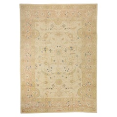 New Persian Sultanabad Rug with Blue & Beige Floral Details