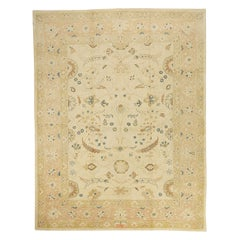 New Persian Sultanabad Rug with Blue and Brown Botanical Details