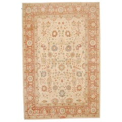 New Persian Sultanabad Rug with Blue and Salmon Pink Floral Motifs