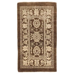 New Persian Sultanabad Rug with Ivory and Gray Floral Motifs on Brown Field