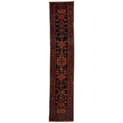 New Persian Zanjan Runner Rug in Black and Red with Allover Design Details