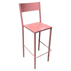 New Pink Industrial Wrought Iron Shop, Counter Stool with Metal Seat and Back
