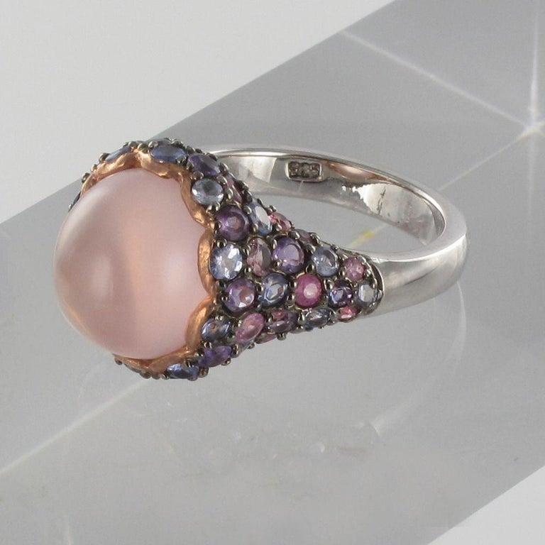 Modern New Pink Quartz Sapphires Tanzanites Amethysts Silver Ring For Sale