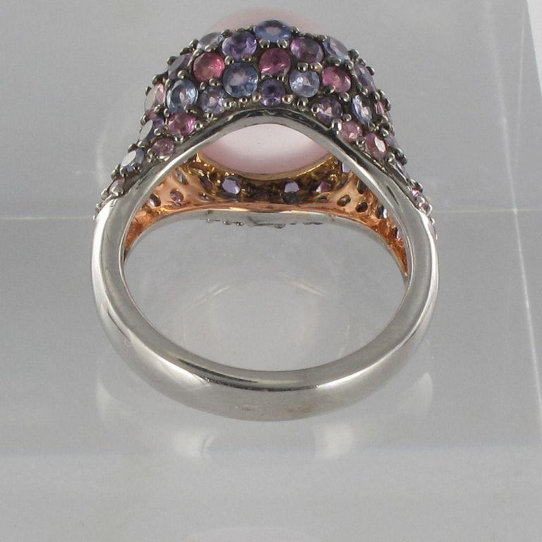 New Pink Quartz Sapphires Tanzanites Amethysts Silver Ring In New Condition For Sale In Poitiers, FR