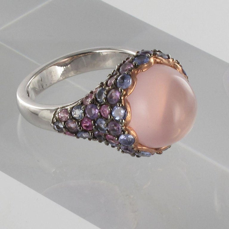 Women's New Pink Quartz Sapphires Tanzanites Amethysts Silver Ring For Sale
