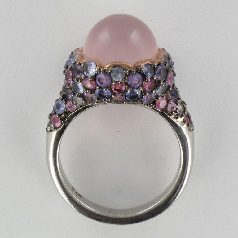 New Pink Quartz Sapphires Tanzanites Amethysts Silver Ring For Sale 1