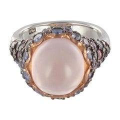 New Pink Quartz Sapphires Tanzanites Amethysts Silver Ring