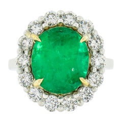 New Platinum & 18k Yellow Gold 6.20ct GIA Oval Emerald Ring w/ Diamond Halo