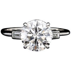 Modern Platinum 2.51 Carat Round Brilliant Diamond Engagement Ring GIA Certified