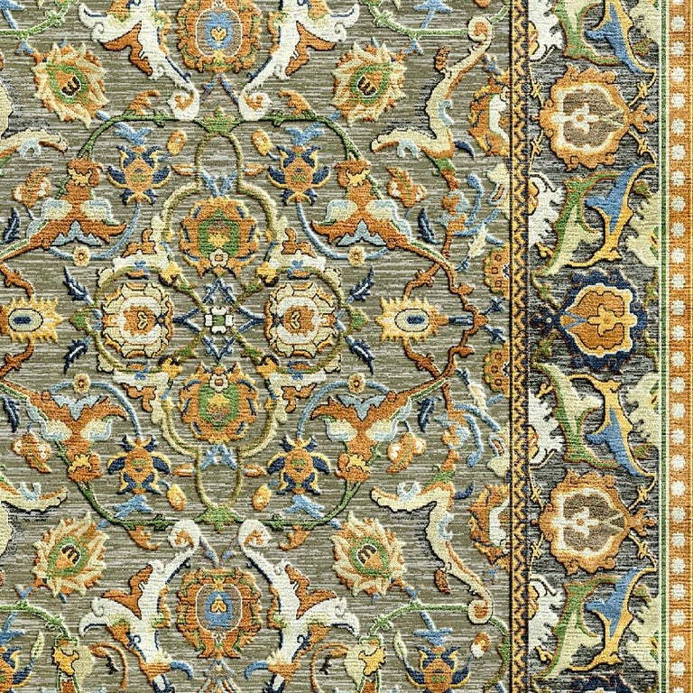 A beautiful new and made to order Polonaise carpet, hand knotted using finest Chinese mulberry silk and Tibetan Highland Wool.   The design features typical elements of the Persian Safavid period in late 17th century, when the original rug was