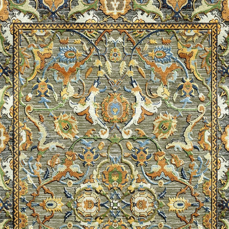 Nepalese New Polonaise Rug Silk and Wool Antique Isfahan Design Bespoke Sizes For Sale