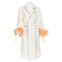 new PRADA 100% silk beige black piping orange feather cuff robe coat Rihanna M