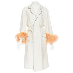 new PRADA 100% silk cream black piping orange feather cuff robe jacket Rihanna M