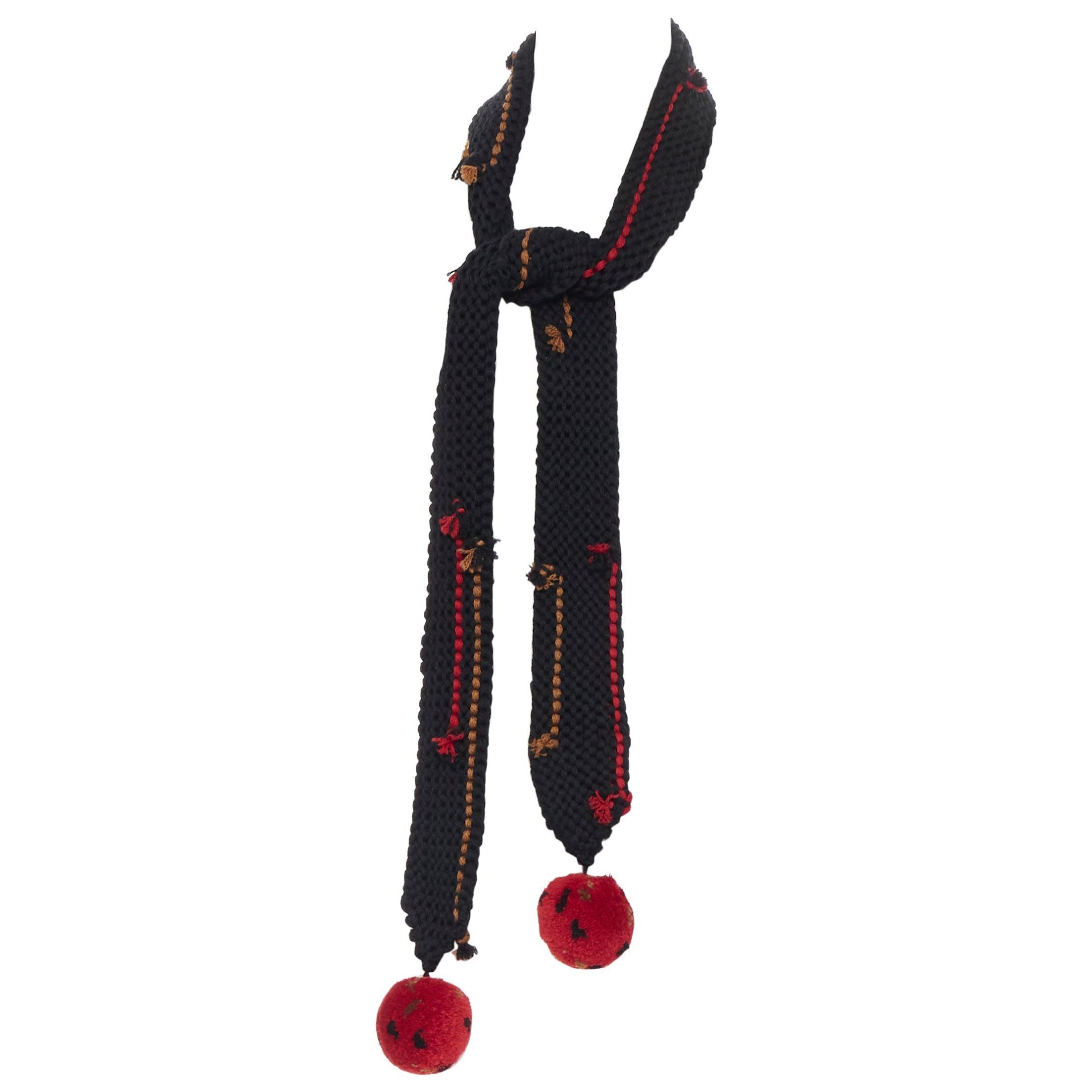 new PRADA 2017 Runway Hand Made black crochet knit pom trim skinny long scarf