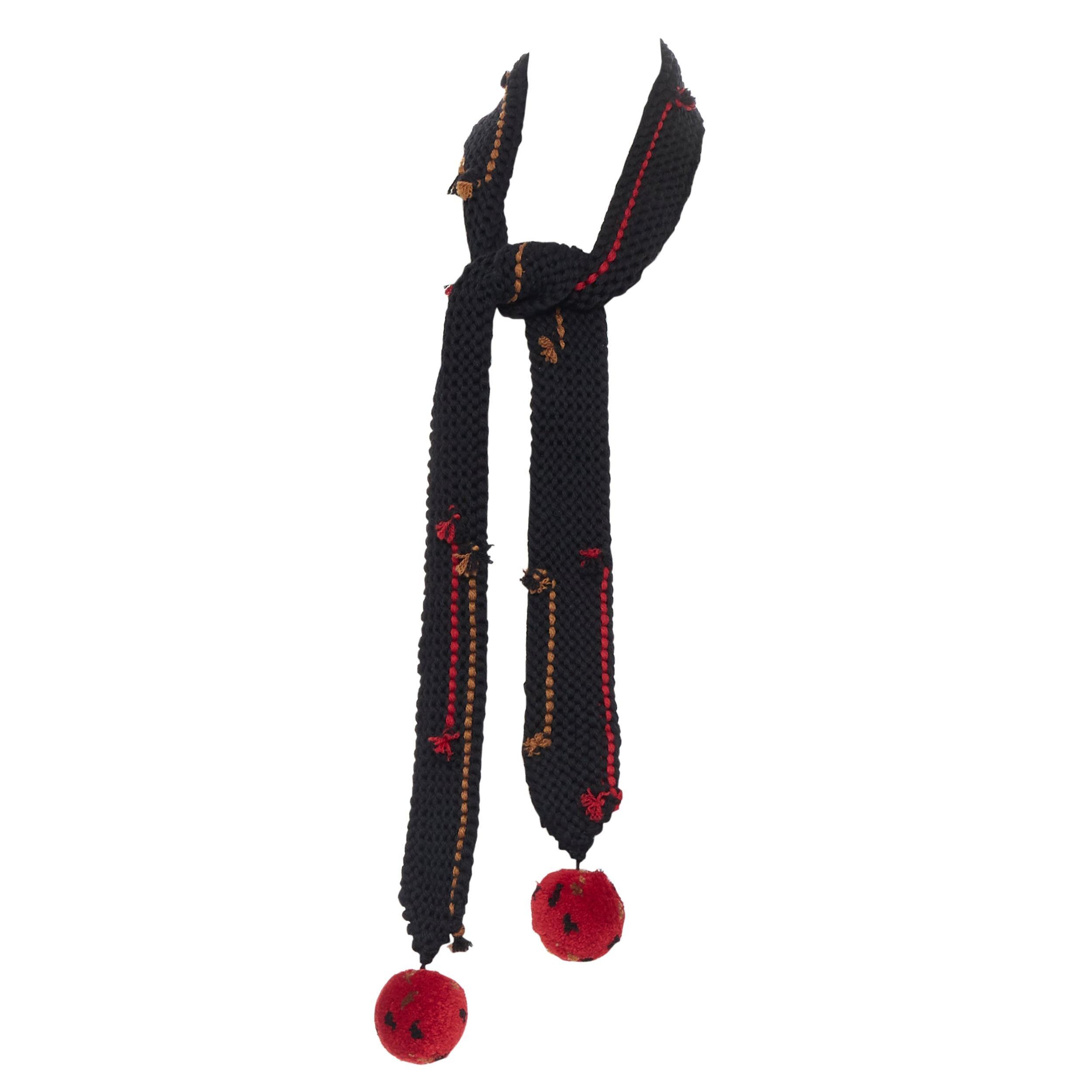 new PRADA 2017 Runway Hand Made black crochet knit red pom skinny long scarf