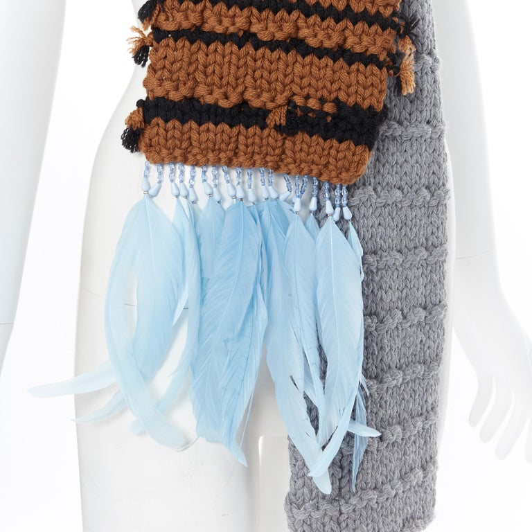 new PRADA 2017 Runway Hand Made grey tan blue bead feather trimmed long scarf Brand: Prada Designer: Miuccia Prada Collection: Fall Winter 2017 Model Name / Style: Knitted scarf Material: Wool Color: Grey, brown Pattern: Solid Extra Detail: From