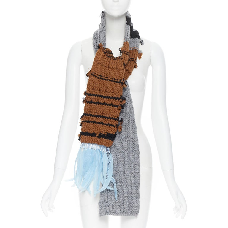 Beige new PRADA 2017 Runway Hand Made grey tan blue bead feather trimmed long scarf For Sale