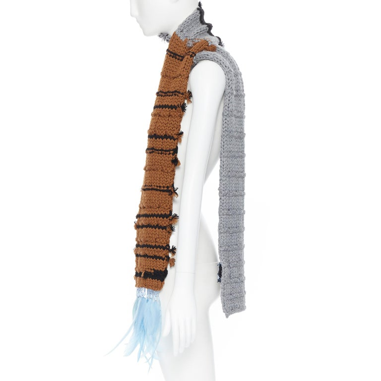 Women's new PRADA 2017 Runway Hand Made grey tan blue bead feather trimmed long scarf For Sale