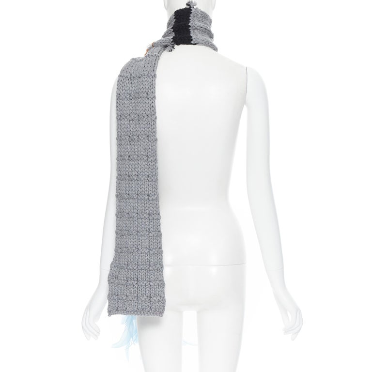 new PRADA 2017 Runway Hand Made grey tan blue bead feather trimmed long scarf For Sale 1