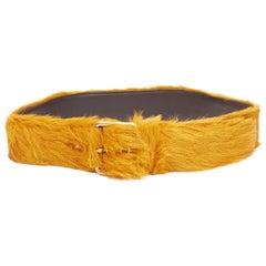 "new PRADA 2017 Runway unisex orange calf hair fur gold buckle wide belt 32"" FR85"