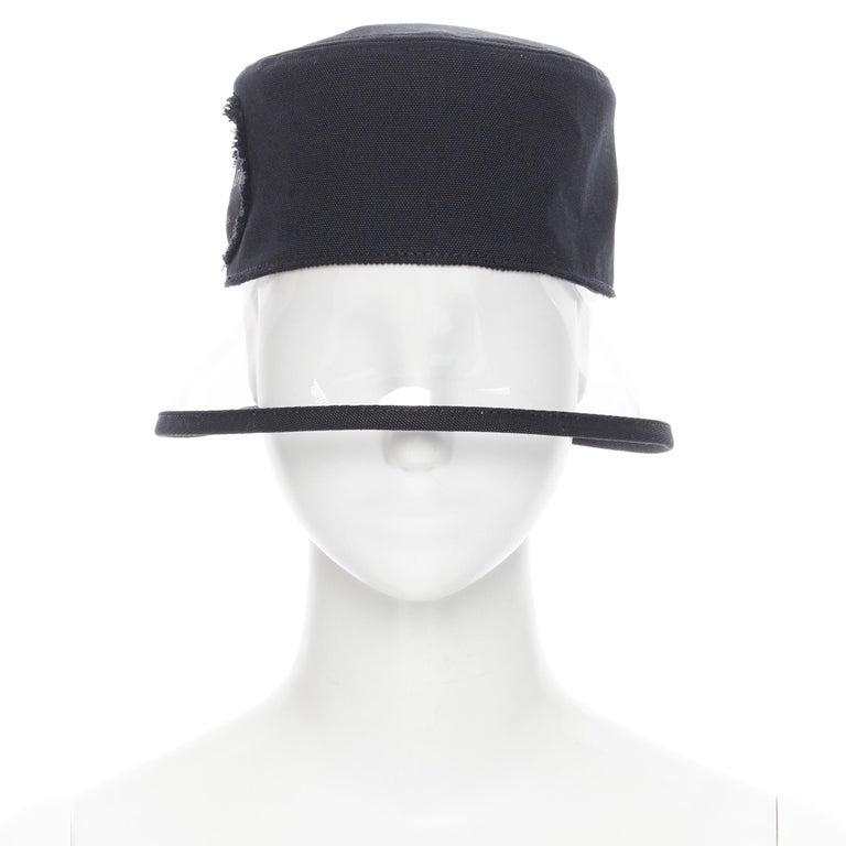 Gray new PRADA 2018 black cotton frayed logo clear PVC brim shield 90's bucket hat M For Sale