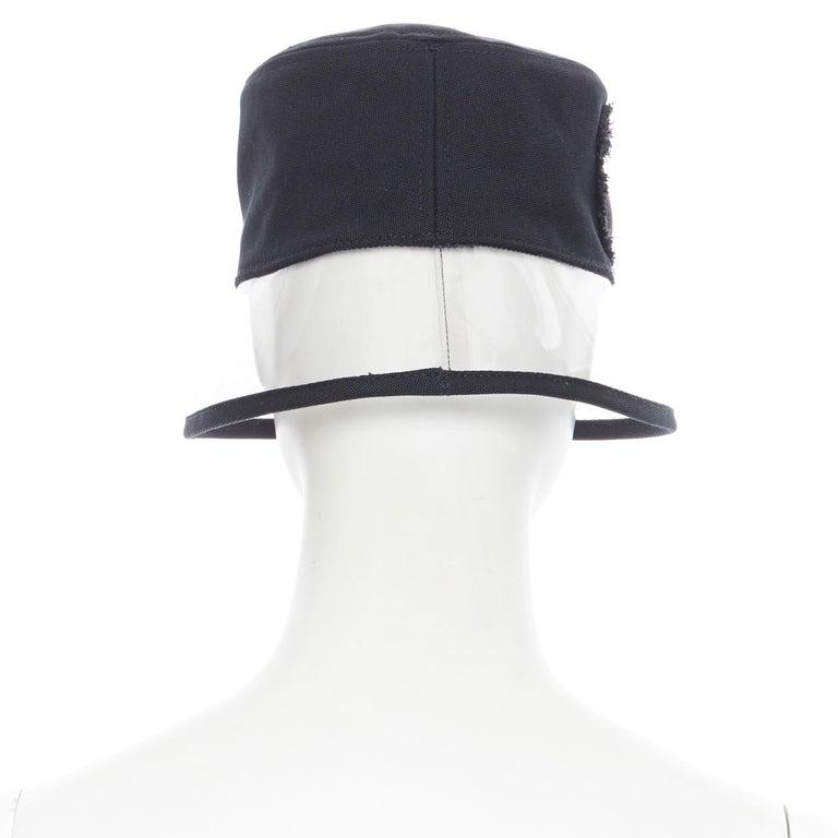 Women's new PRADA 2018 black cotton frayed logo clear PVC brim shield 90's bucket hat M For Sale