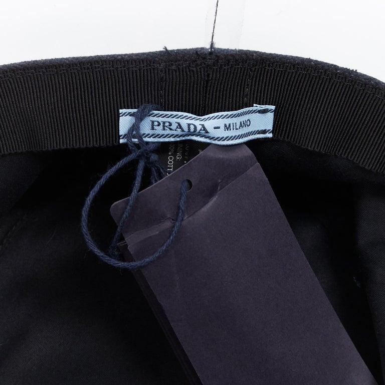new PRADA 2018 black cotton frayed logo clear PVC brim shield 90's bucket hat M For Sale 1