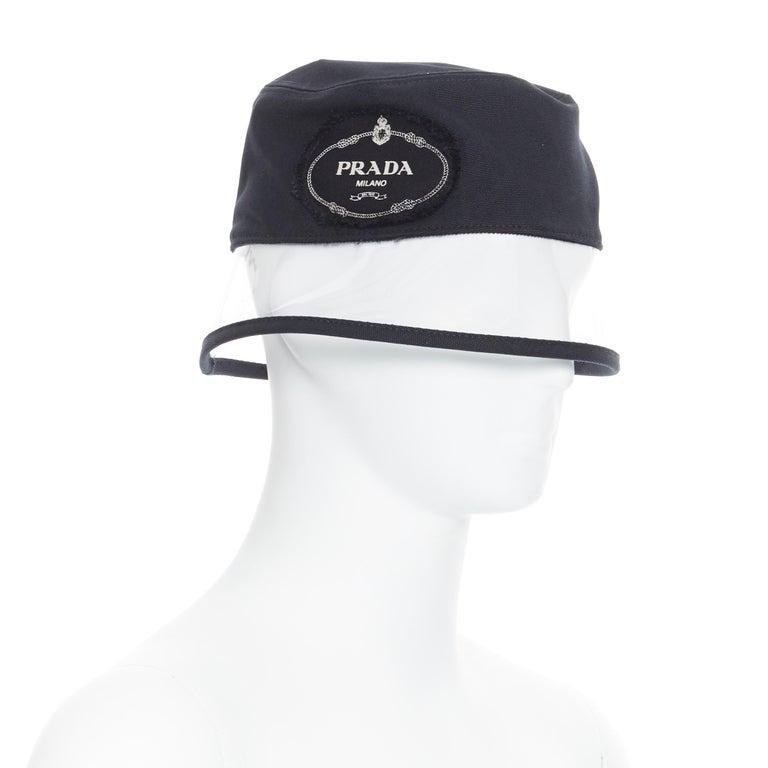 new PRADA 2018 black cotton frayed logo clear PVC brim shield 90's bucket hat M For Sale 2
