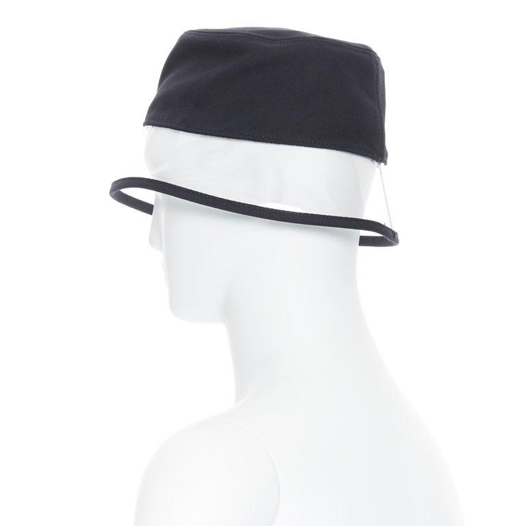 new PRADA 2018 black cotton frayed logo clear PVC brim shield 90's bucket hat M For Sale 3