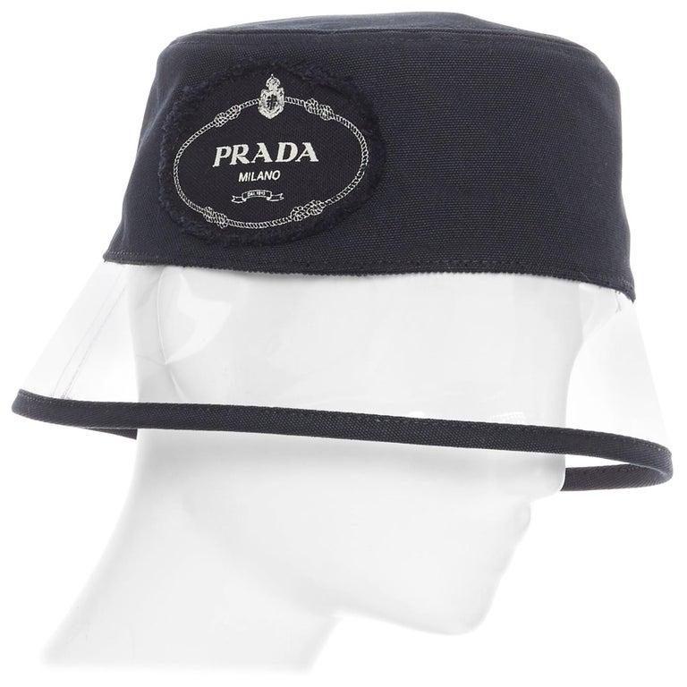 new PRADA 2018 black cotton frayed logo clear PVC brim shield 90's bucket hat M For Sale