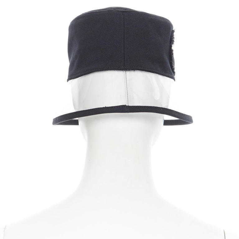 Women's new PRADA 2018 black cotton frayed logo clear PVC brim shield 90's bucket hat S For Sale