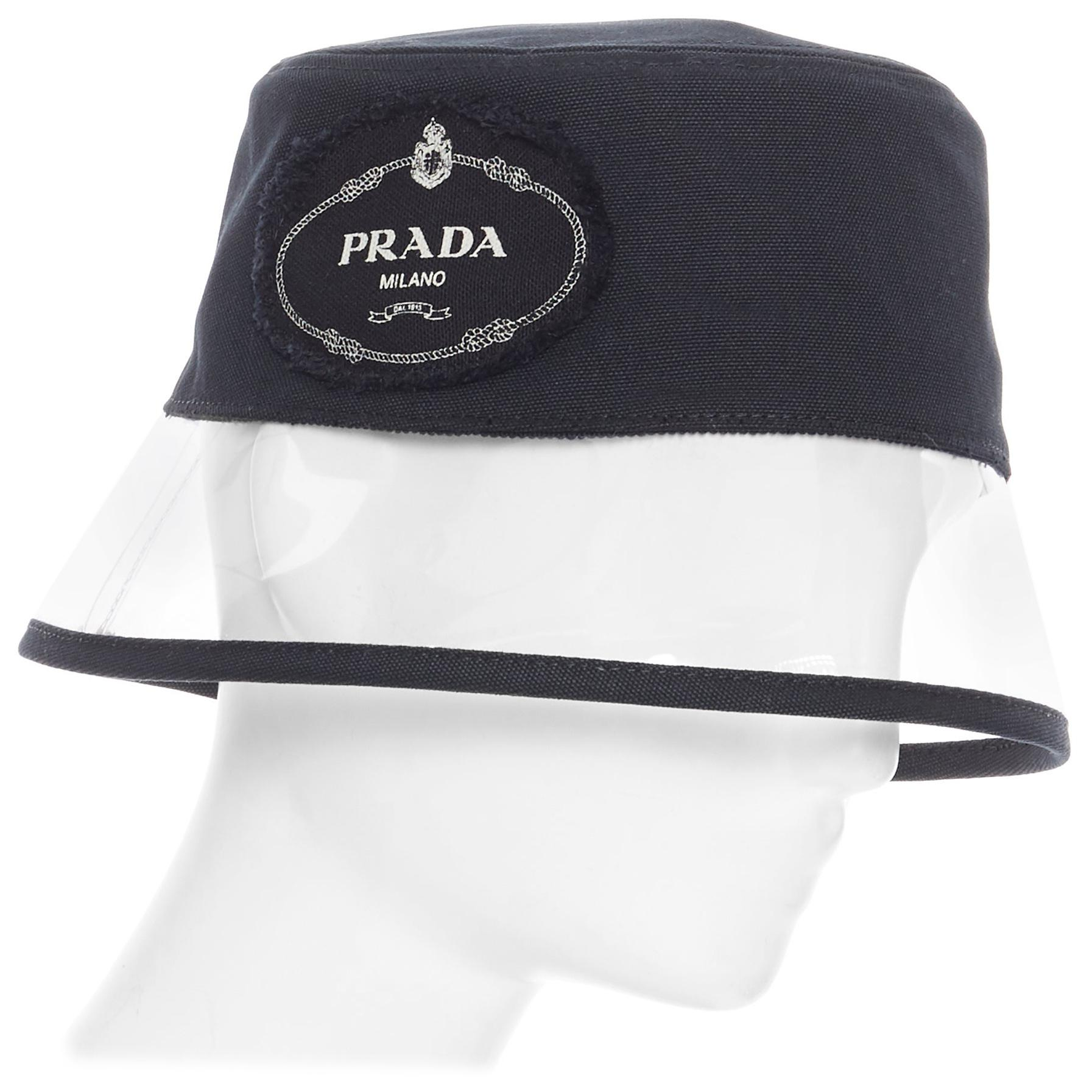 new PRADA 2018 black cotton frayed logo clear PVC brim shield 90's bucket hat S