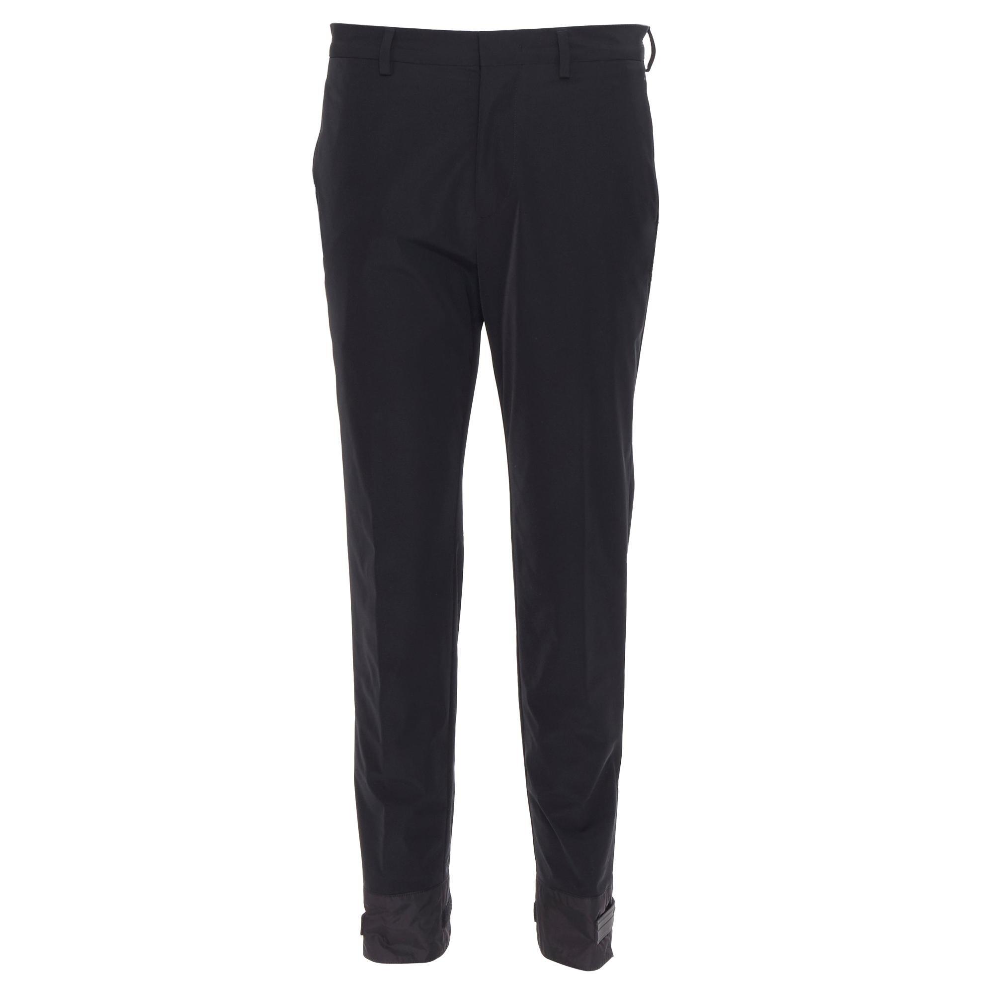 new PRADA 2018 black sportswear logo cuff hem track pants trousers IT48 M