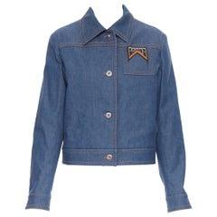 new PRADA 2018 blue shearling lined rubber logo pocket denim jacket IT42 M