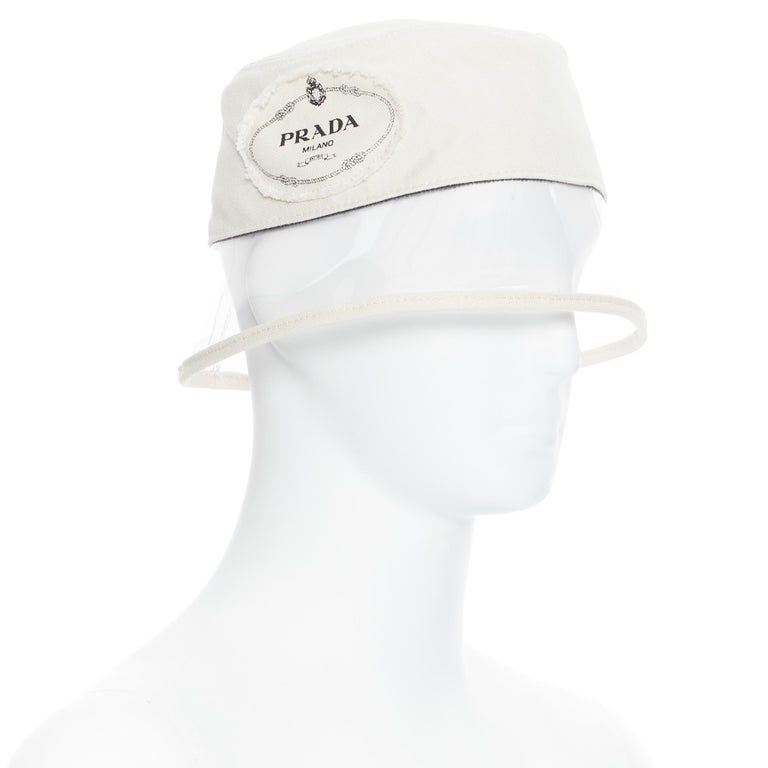 new PRADA 2018 cream cotton frayed logo clear PVC brim shield 90's bucket hat M For Sale 2