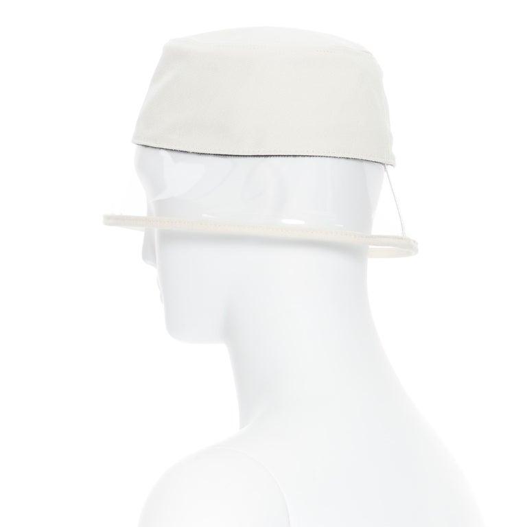 new PRADA 2018 cream cotton frayed logo clear PVC brim shield 90's bucket hat M For Sale 3