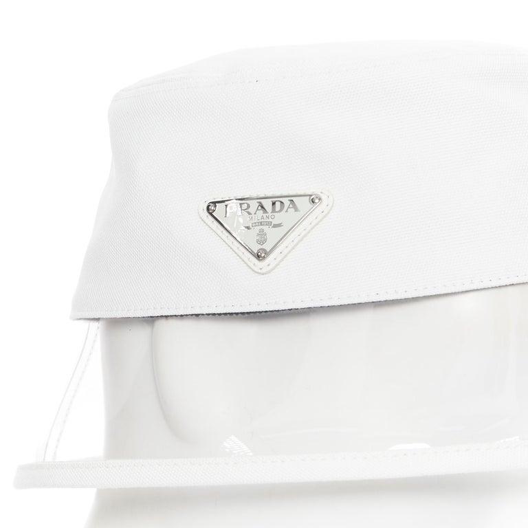 Women's new PRADA 2018 cream cotton triangle logo clear PVC brim 90's bucket hat S For Sale