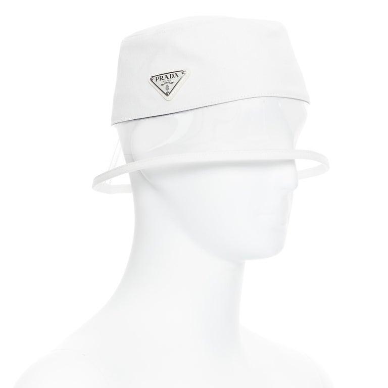 new PRADA 2018 cream cotton triangle logo clear PVC brim 90's bucket hat S For Sale 2
