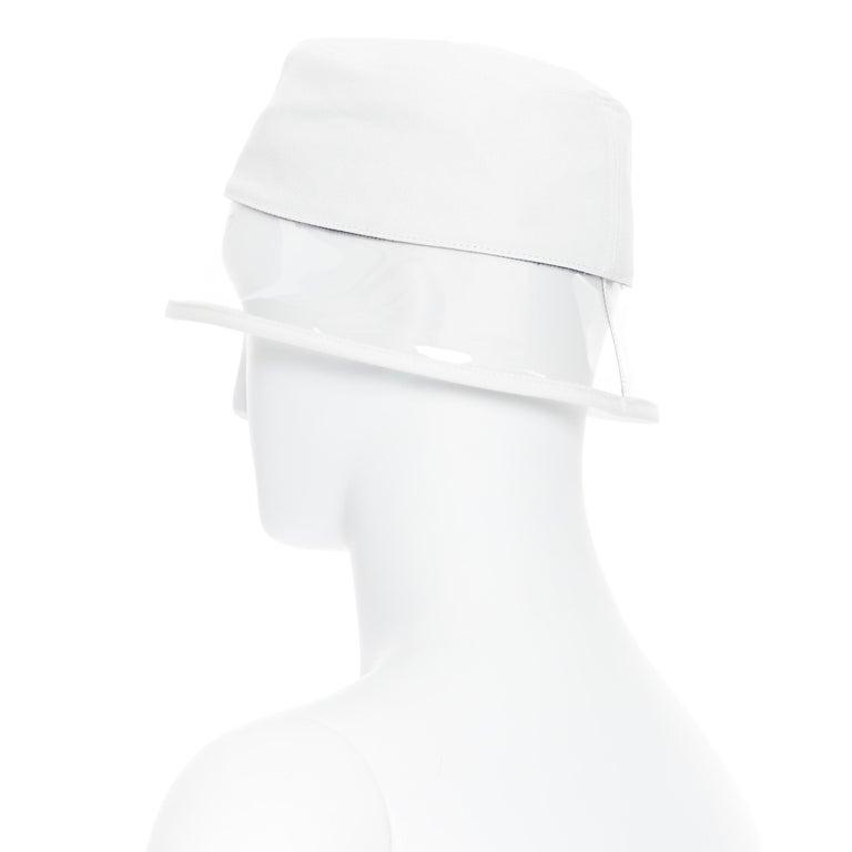 new PRADA 2018 cream cotton triangle logo clear PVC brim 90's bucket hat S For Sale 3
