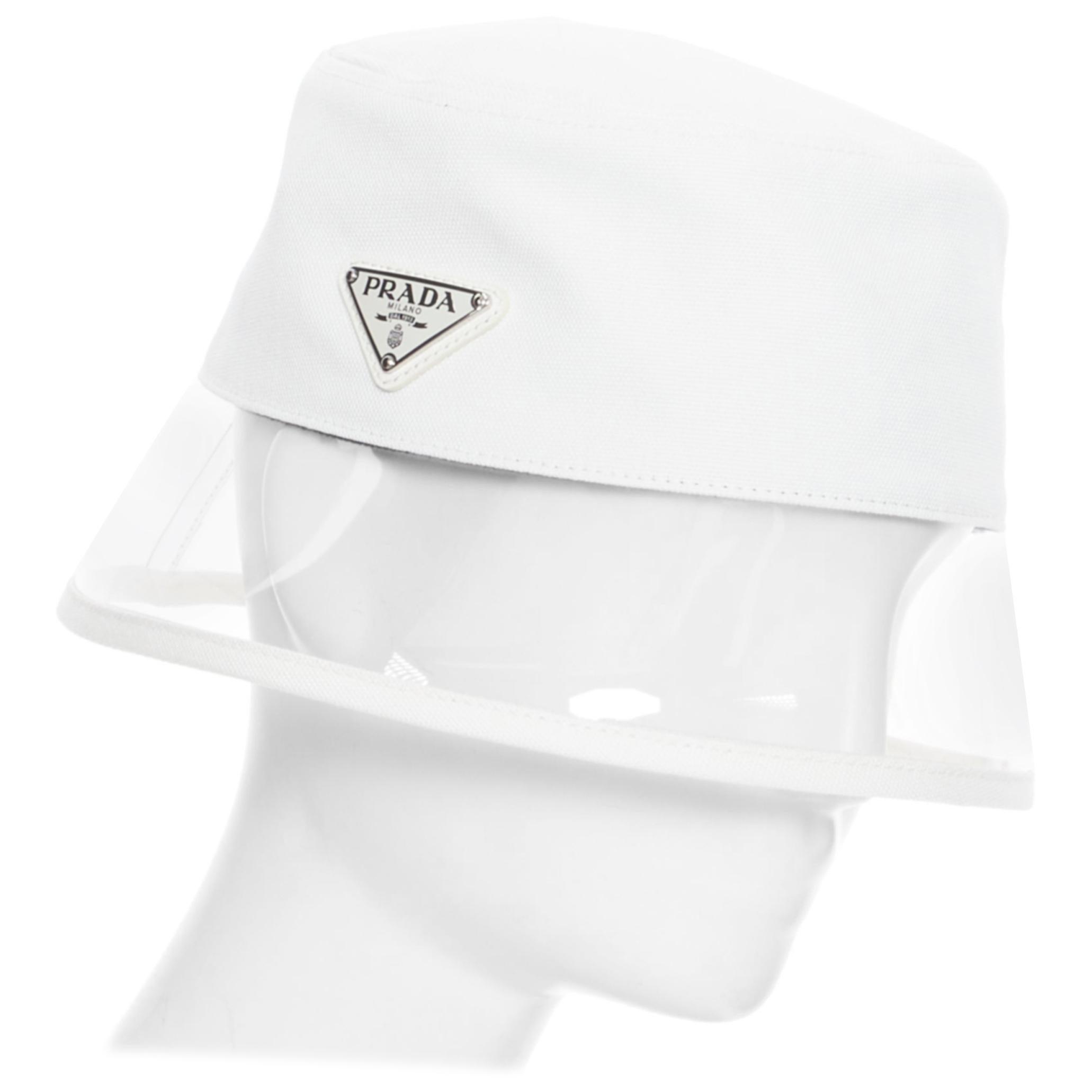 new PRADA 2018 cream cotton triangle logo clear PVC brim 90's bucket hat S