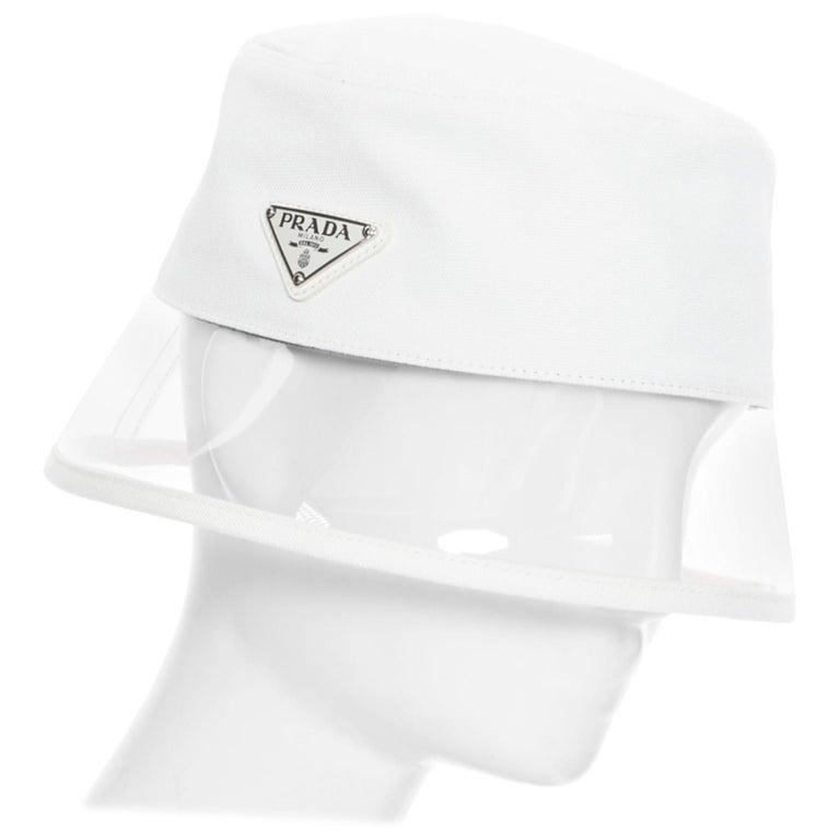 new PRADA 2018 cream cotton triangle logo clear PVC brim 90's bucket hat S For Sale