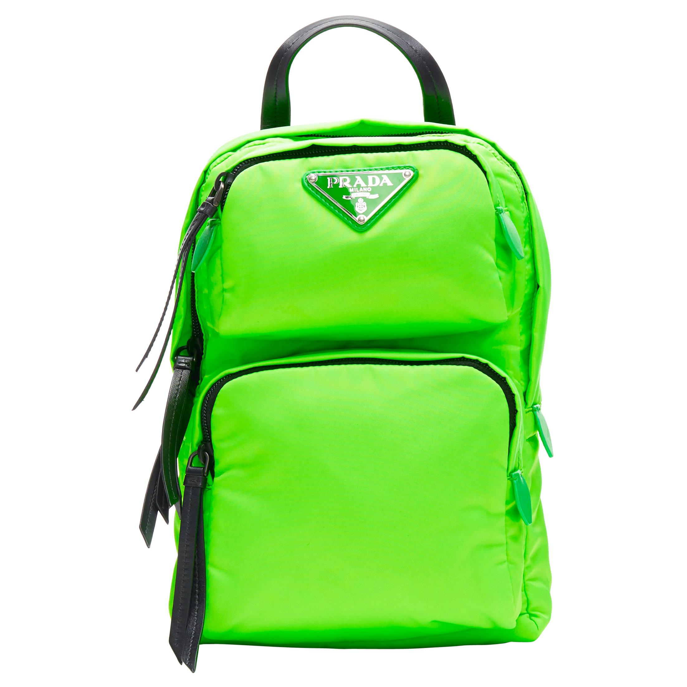 new PRADA 2018 Fluorescent neon green dual pocket one shoulder small backpack