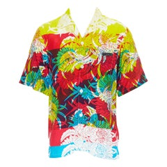 new PRADA 2018 Psychedelic Hibiscus yellow floral print Hawaiian bowling shirt S