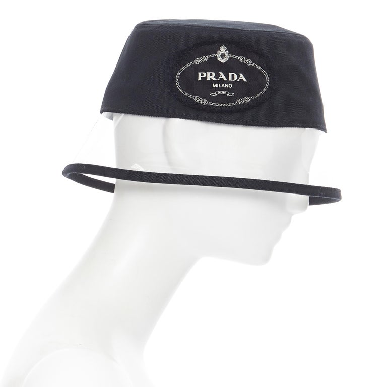 new PRADA 2018 RARE black cotton frayed logo clear PVC trim 90's bucket hat S In New Condition For Sale In Hong Kong, NT