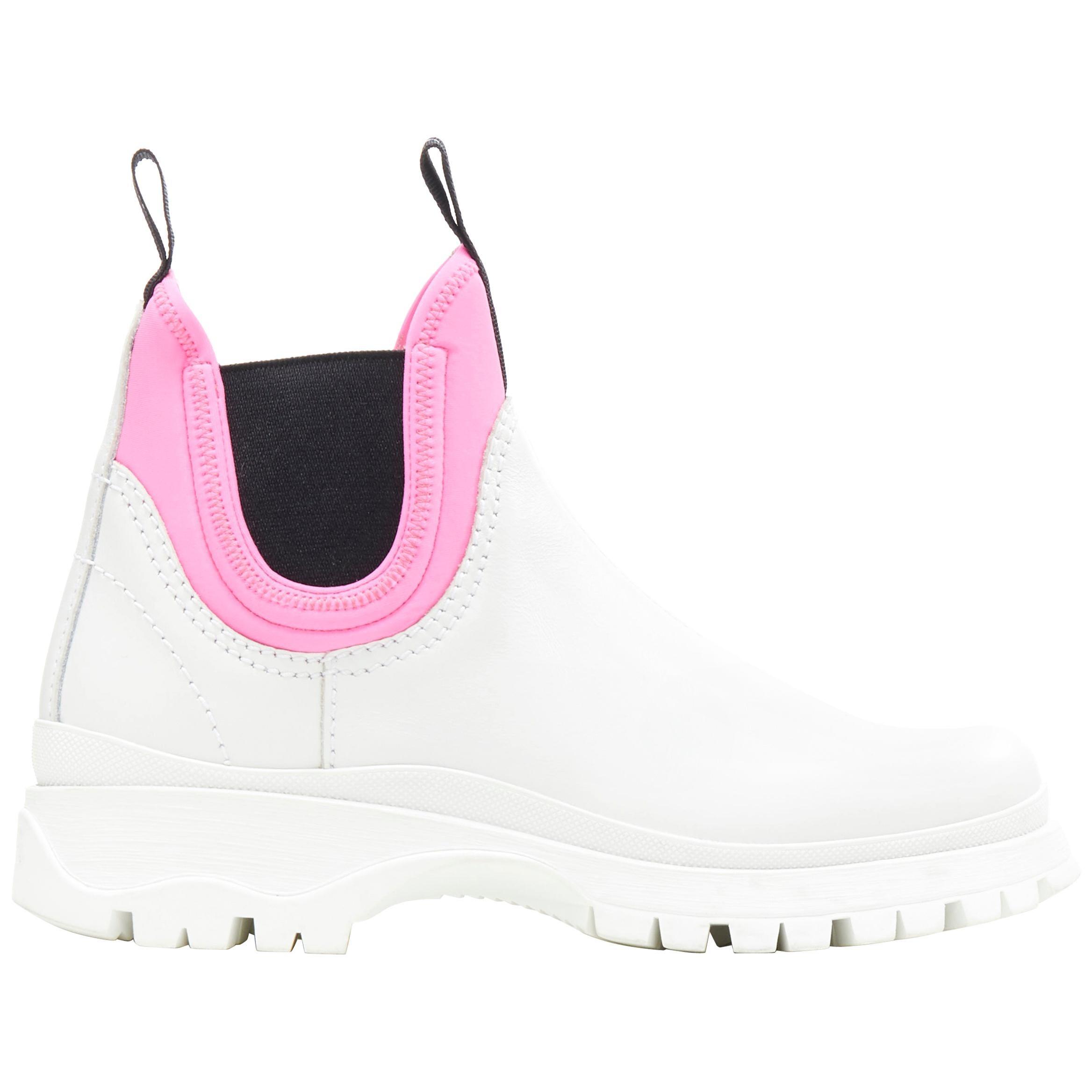 new PRADA 2018 Runway neon pink neoprene white leather ankle chelsea boot EU38.5