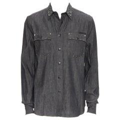 new PRADA 2018 washed grey denim silver stud embellished western over shirt M