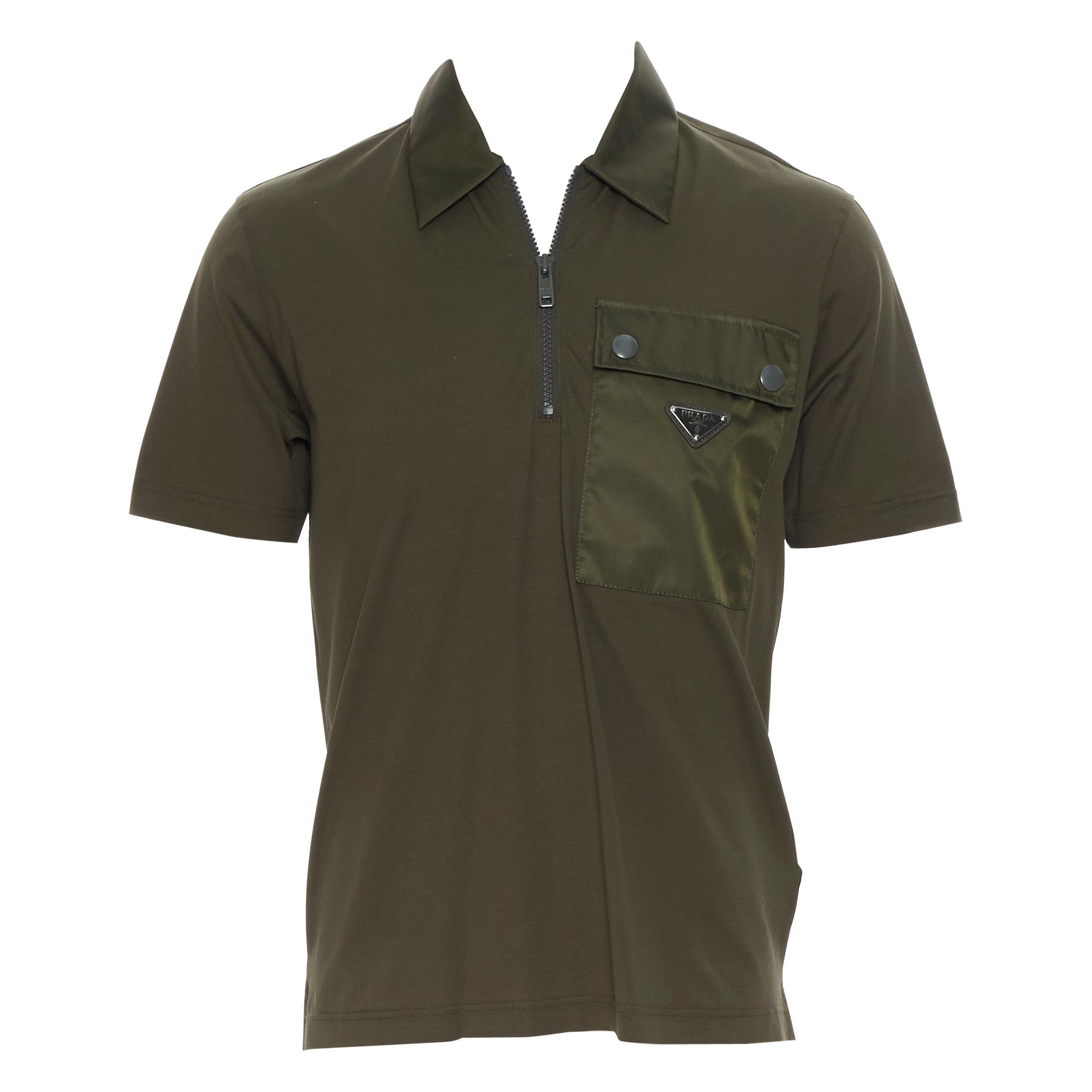 new PRADA 2019 army green cotton triangle logo plate pocket polo shirt top S