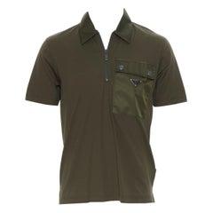 new PRADA 2019 army green cotton triangle logo plate utility pocket polo top S