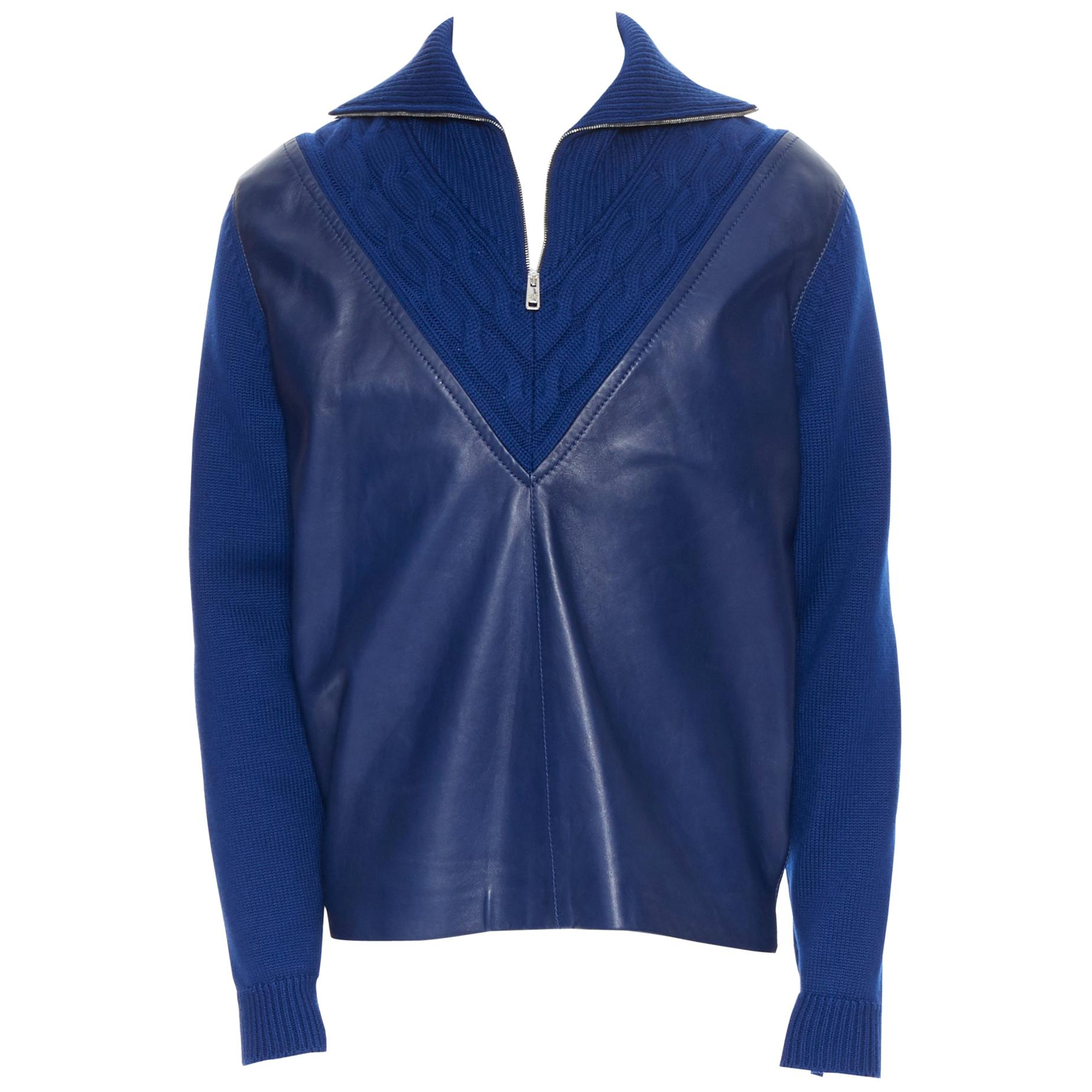 new PRADA 2019 blue leather panel front half zip cable knit varsity sweater IT48