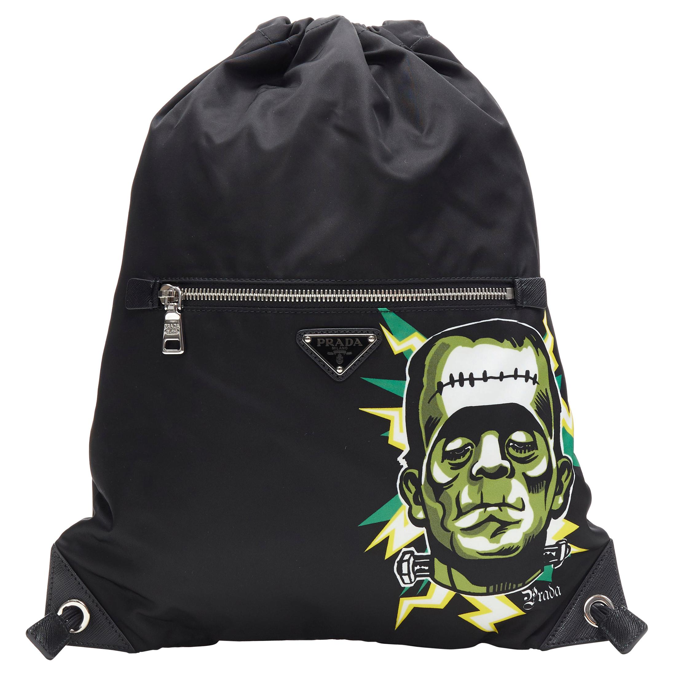 new PRADA 2019 Frankenstein black nylon logo plate drawstring backpack bag